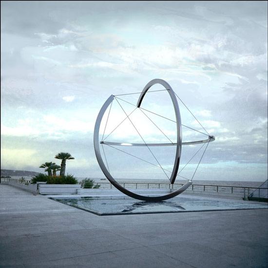 Patrick FLEURY, Sphère (projet-Monaco, 2007) aluminium ø: 600cm