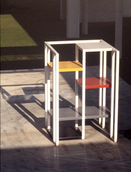 Patrick FLEURY, Tour Fenwick (1996) acier peint (500 x 360 x 360cm)