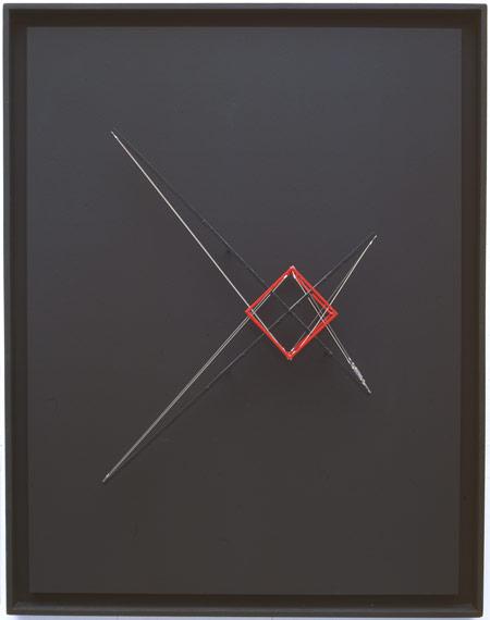Patrick Fleury  Station 1  (2002)  bois, laiton peint  (68 x 86 x 12 cm)