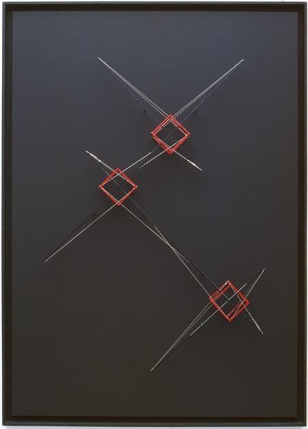 Patrick Fleury  Station 3a  (2002)  bois, laiton  peint  (101 x 141 x 12,5 cm)