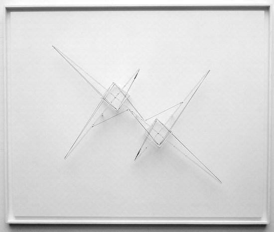 Patrick Fleury  Station 2a  (2001)  bois, laiton, acier peint  (116 x 96 x 12,5 cm)